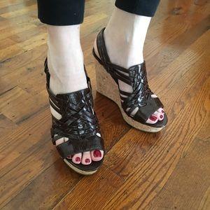 Enzo Angiolini Leather Platform Sandal